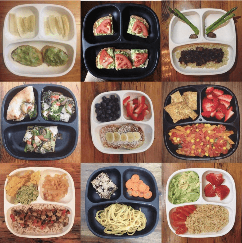 6 Replay plates of vegan toddler meals. Each one has different food ideas for little kids.  The plates are in a black and white pattern on a wood table.