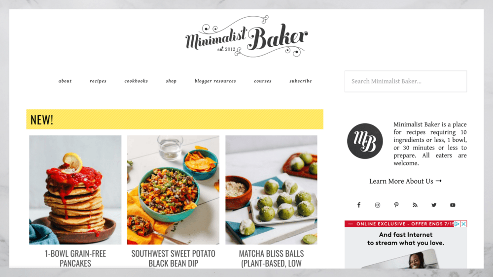 Screenshot from Minimalist Bakers website