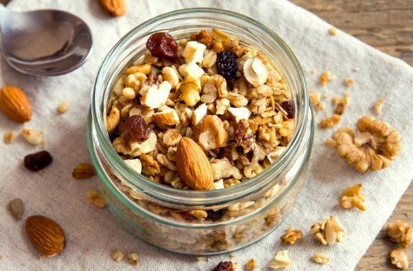 granola in a glass bowl