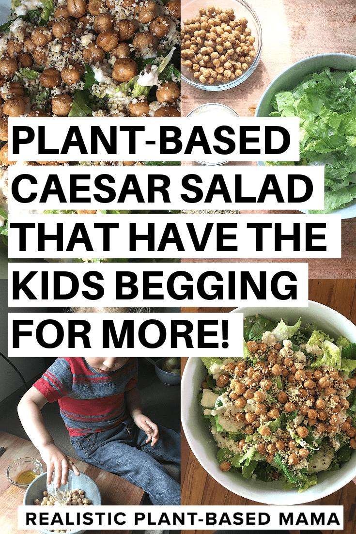 caesar salad with crispy garlic chickpeas plantbased