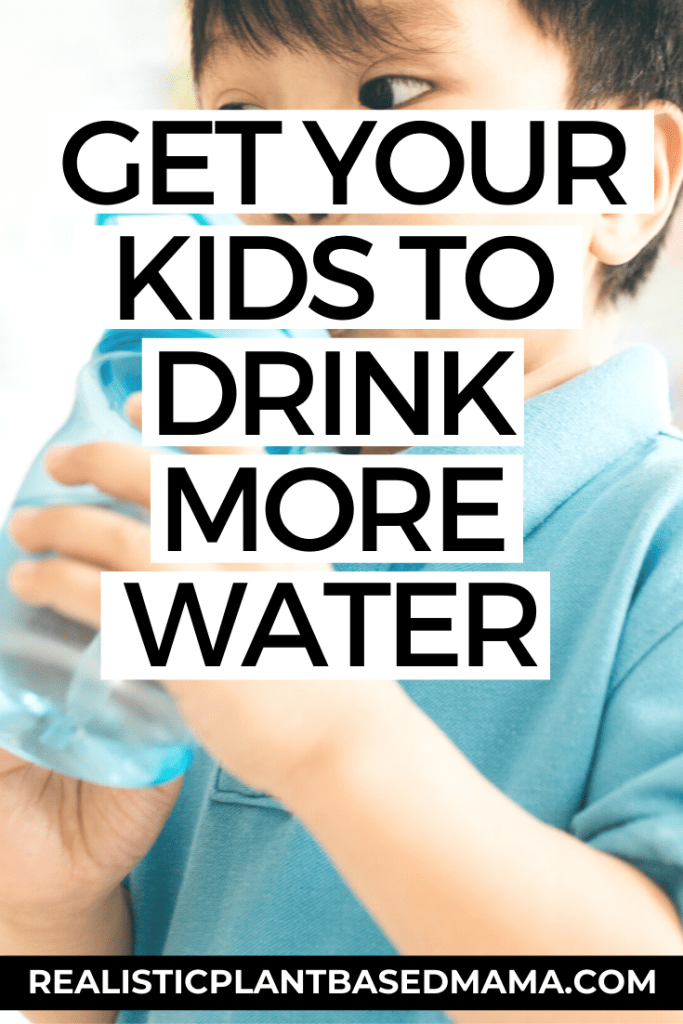 "child drinking out of a blue water bottle with the words ""get your kids to drink more water"" overlayed"